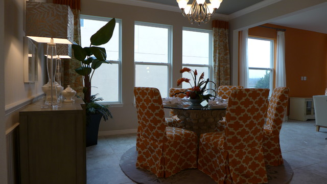 Orange and grey house contemporary dining room for Orange and grey dining room