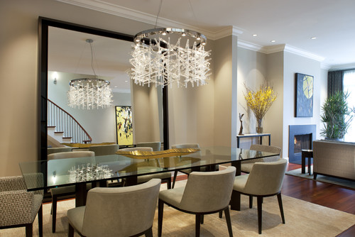 Dining Room Interior With Huge Mirror