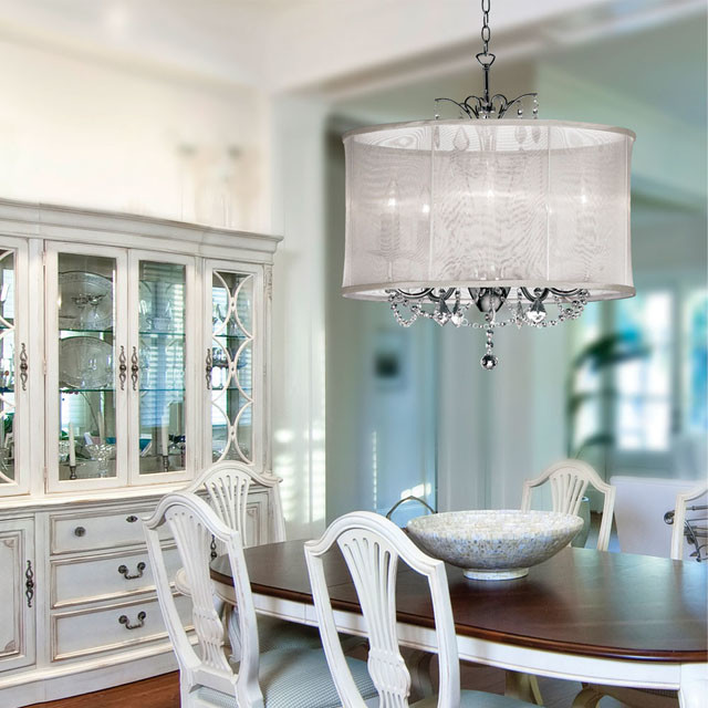 Dining Room Chandeliers Traditional: Organza Silk Drum Shade Crystal Chandelier