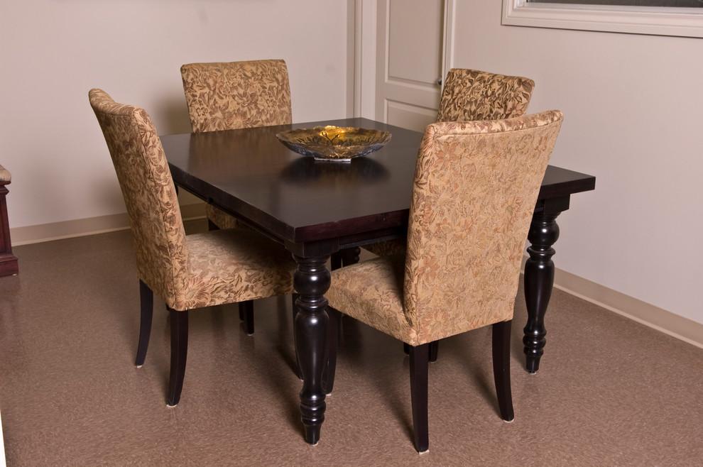 Kitchen/dining room combo - small linoleum floor kitchen/dining room combo idea in Other with beige walls