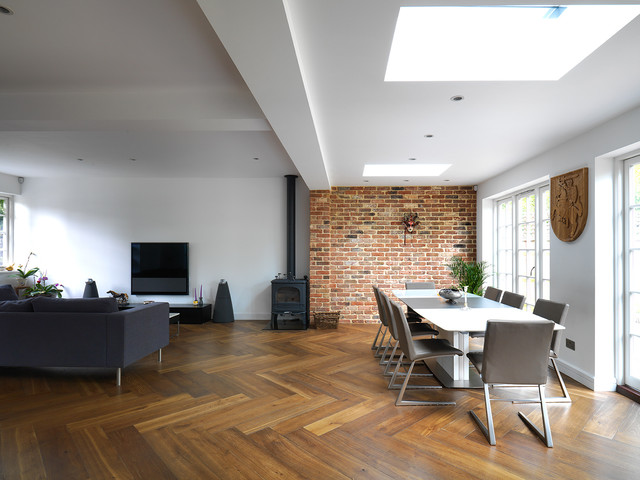 Oversized Smoked Oak Parquet Scandinavian Dining Room