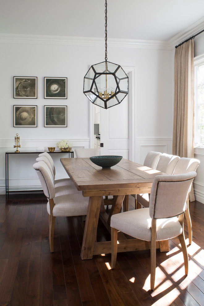 Inspiration for a mid-sized transitional dark wood floor dining room remodel in Los Angeles with white walls