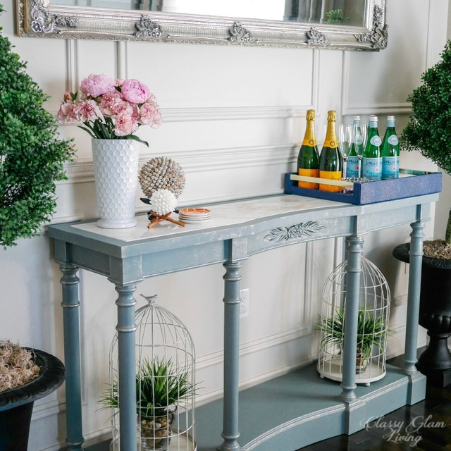 painted french blue console table transitional dining