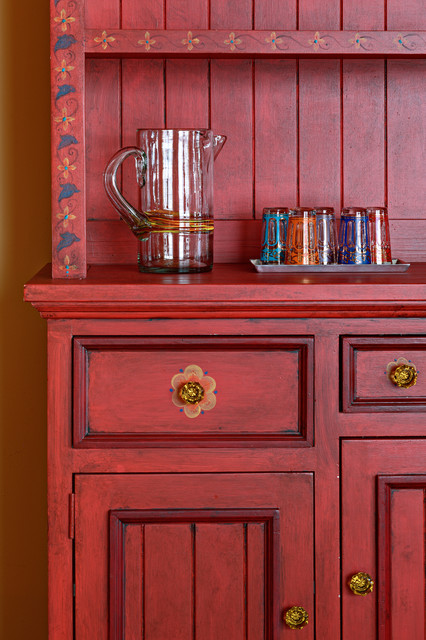 Painted hutch detail luxury condo eclectic dining for Painted dining room hutch ideas
