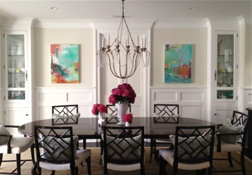 Abstract art enhances traditional dining room for Dining room paintings
