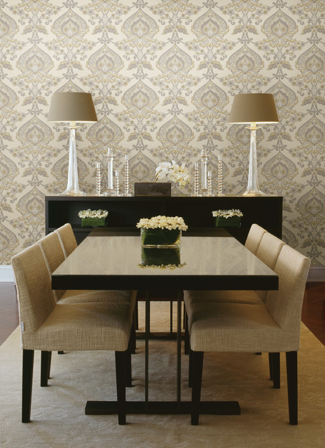 Modern Wallpaper Designs For Living Room: Paisley Damask Wallpaper