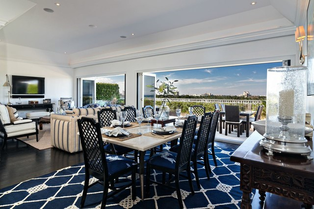 Island style dining room photo in Boston