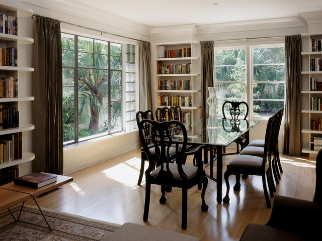 Elegant Medium Tone Wood Floor Dining Room Photo In Austin With Beige Walls