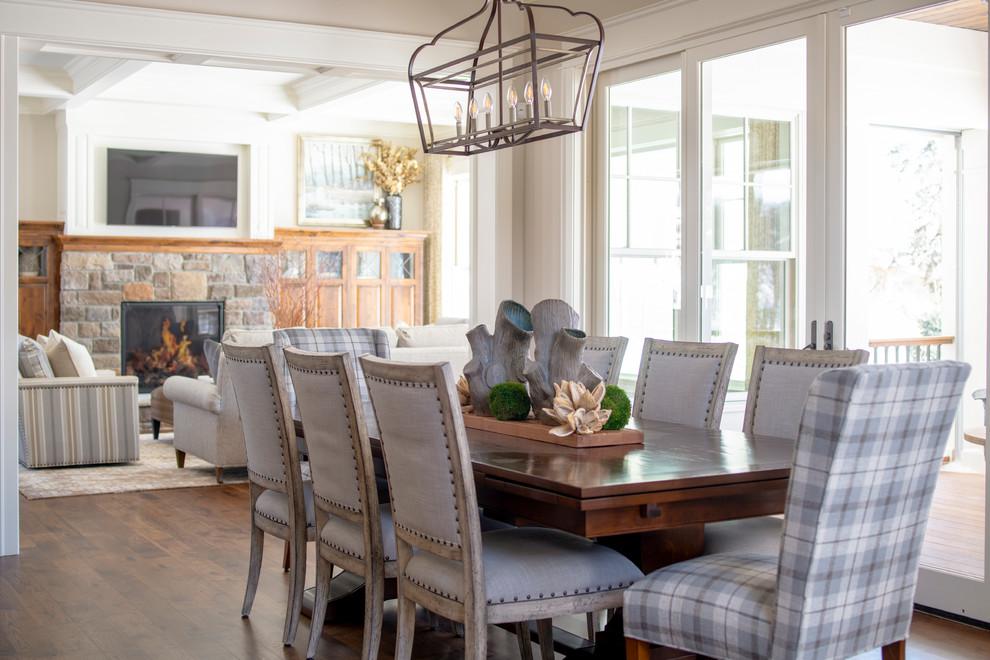Dining room - traditional dark wood floor and brown floor dining room idea in Minneapolis with beige walls