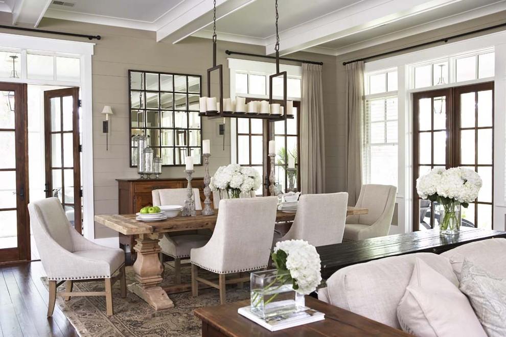 Large elegant dark wood floor great room photo in Charleston with brown walls