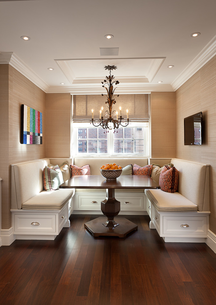 Inspiration for a timeless dark wood floor and brown floor dining room remodel in New York with beige walls
