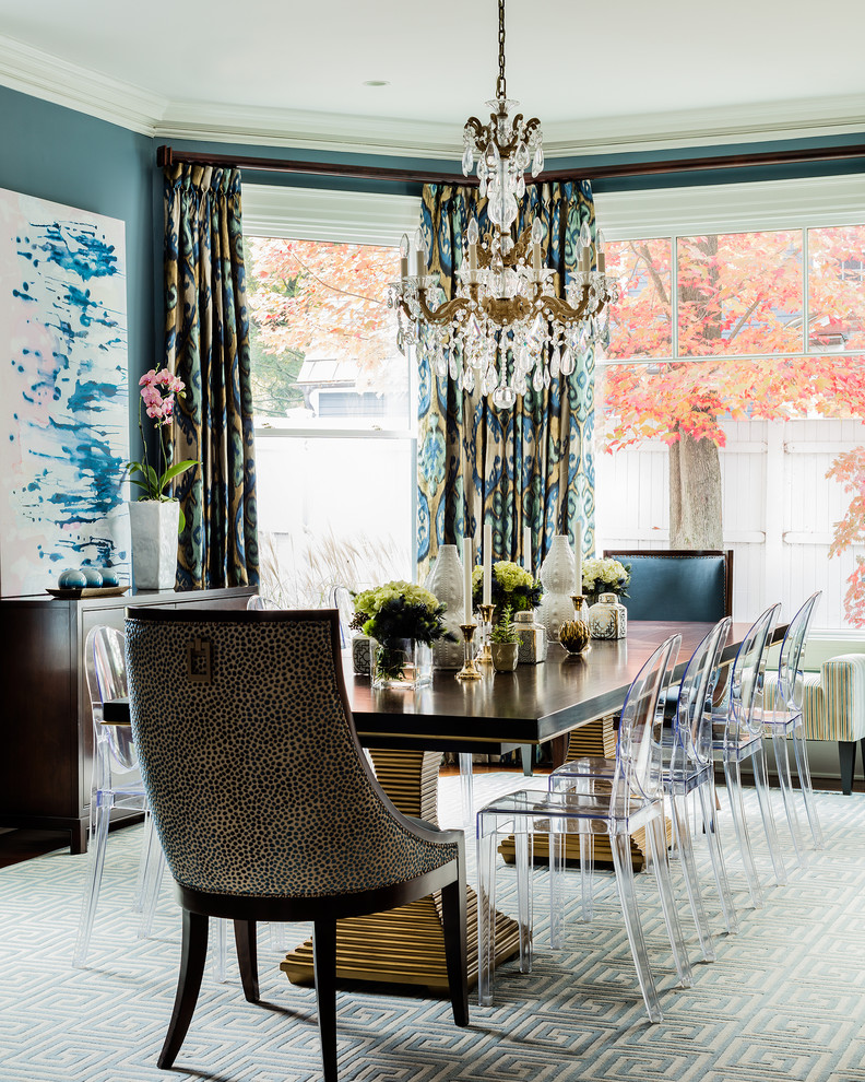 Photo of a classic enclosed dining room in Boston with blue walls.