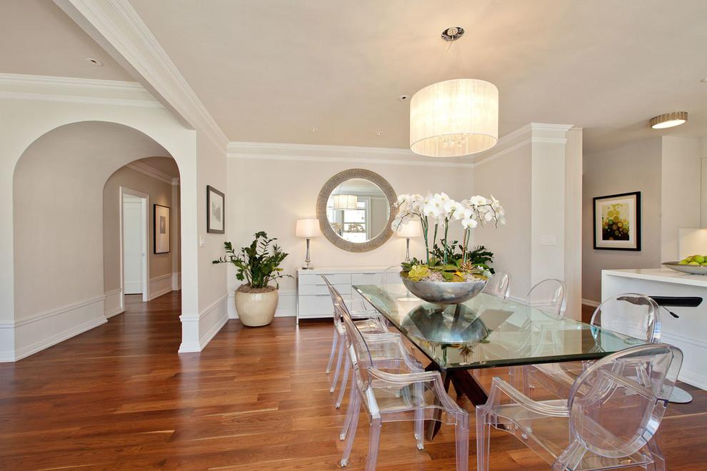 Great room - transitional dark wood floor great room idea in San Francisco with beige walls