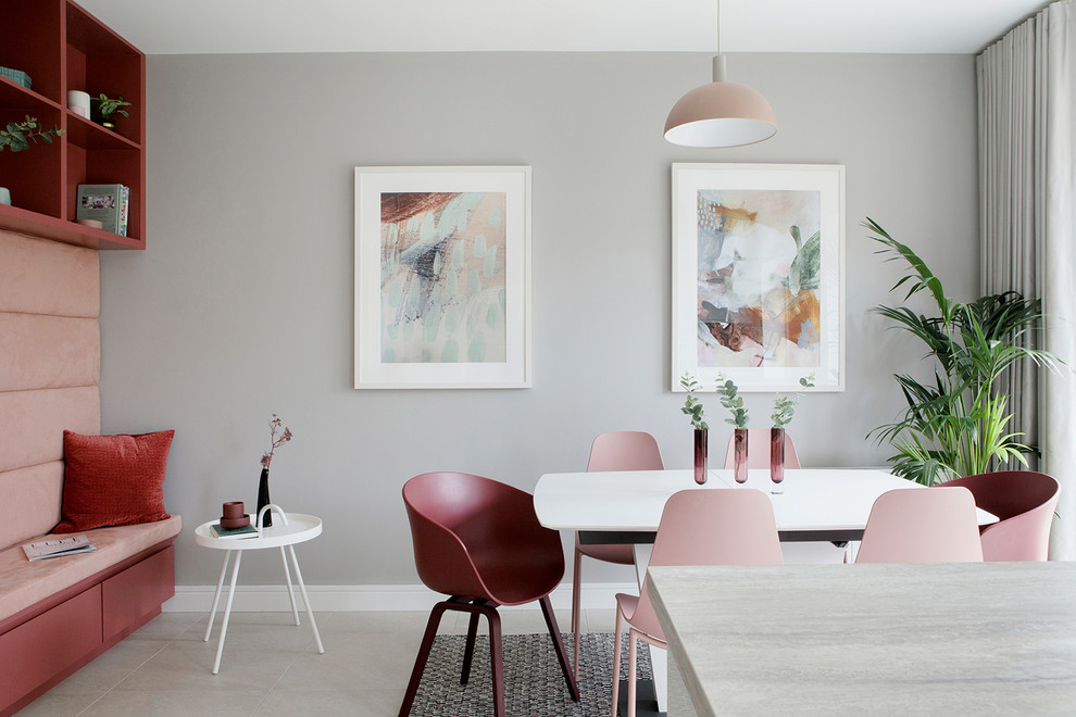 Inspiration for a scandinavian gray floor kitchen/dining room combo remodel in Other with gray walls