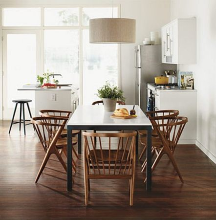 parsons table & walnut soren chairsr&b - modern - dining room