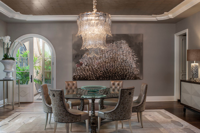 Large Transitional Dark Wood Floor Enclosed Dining Room Photo In Los  Angeles With Gray Walls