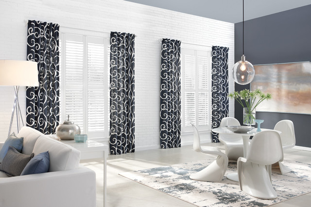 Patterned Curtains Enhance Look Of These Plantation Shutters In Dining Area  Modern Dining Room