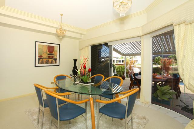 Pebble beach house beach style dining room gold for Beach house designs gold coast
