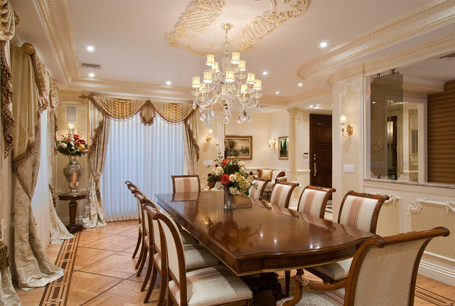 Penthouse apartment traditional dining room new york for Decoracion de interiores de casas estilo clasico