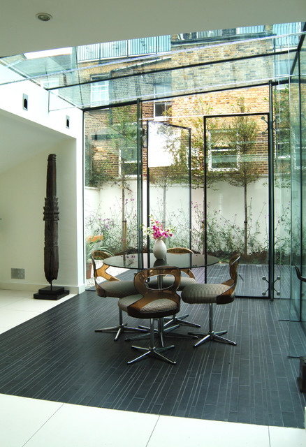 Perfect Glass Box Contemporary Dining Room London by John