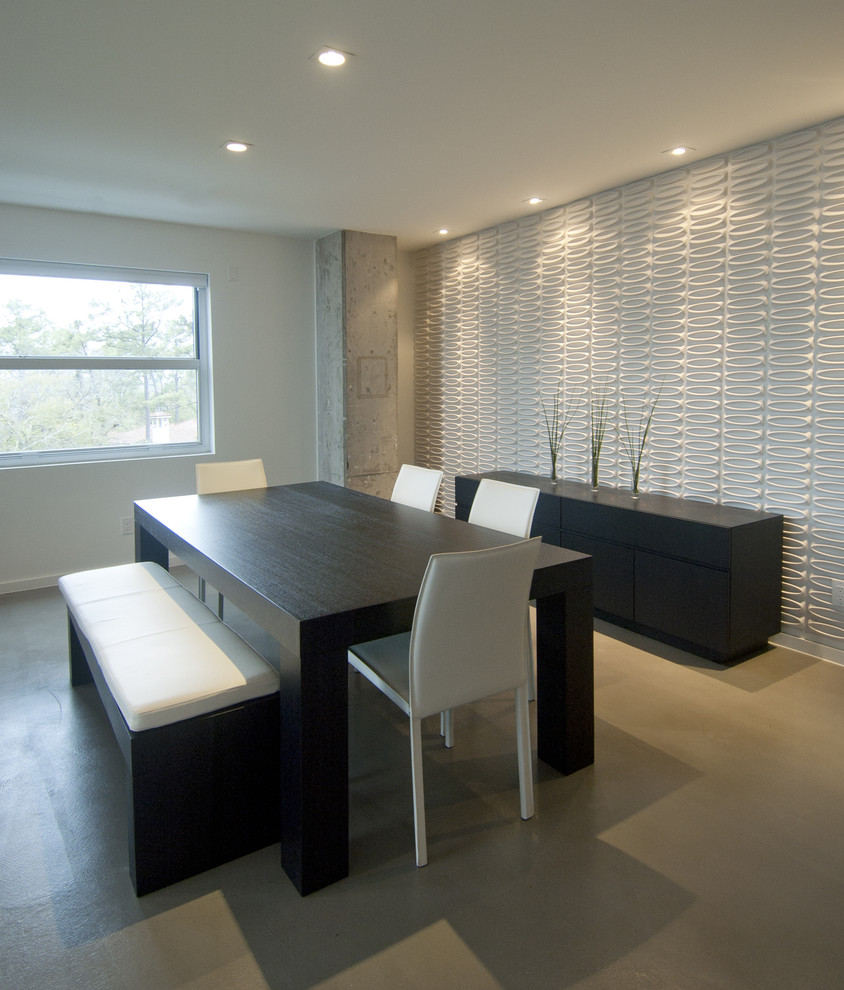 Trendy dining room photo in Houston with white walls