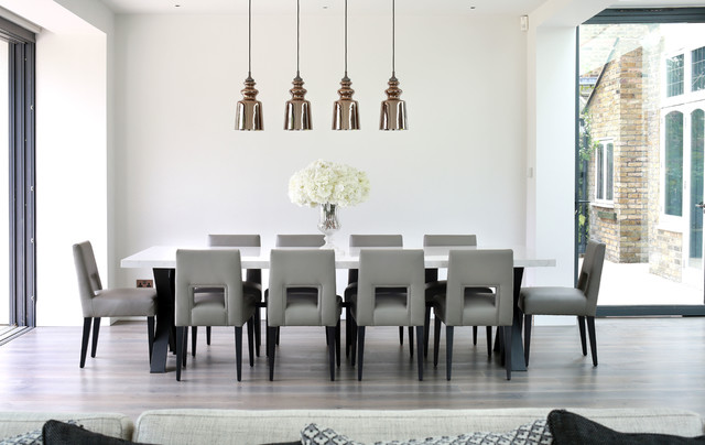 Dining Table Design Ideas transitional dining room photo with gray walls and dark hardwood floors Saveemail