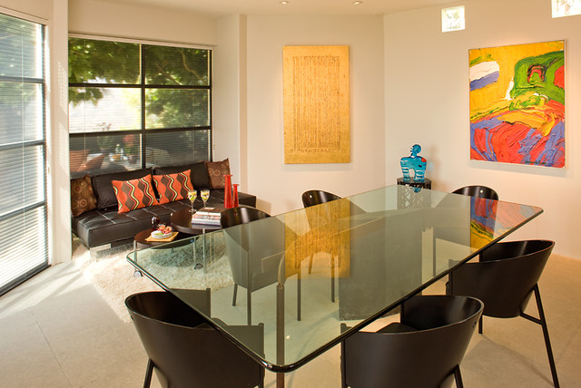 Playful dining room with lounge area contemporary