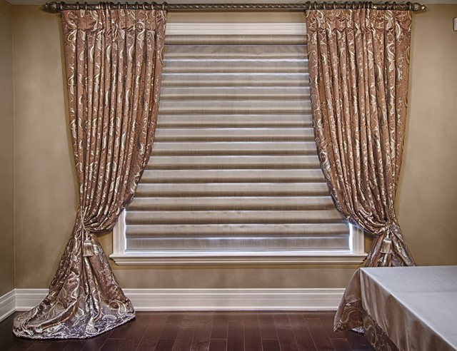 Pleated draperies roller shades modern layered look for Roller pleat curtains