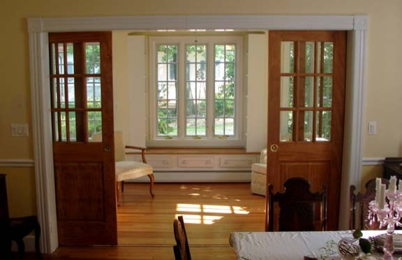 Pocket Doors Connect Morning Room To Dining Area Traditional