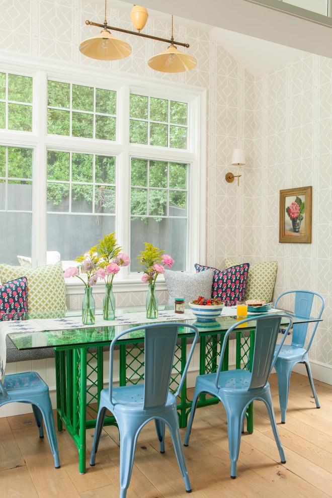 Great room - huge cottage light wood floor and beige floor great room idea in Los Angeles with beige walls