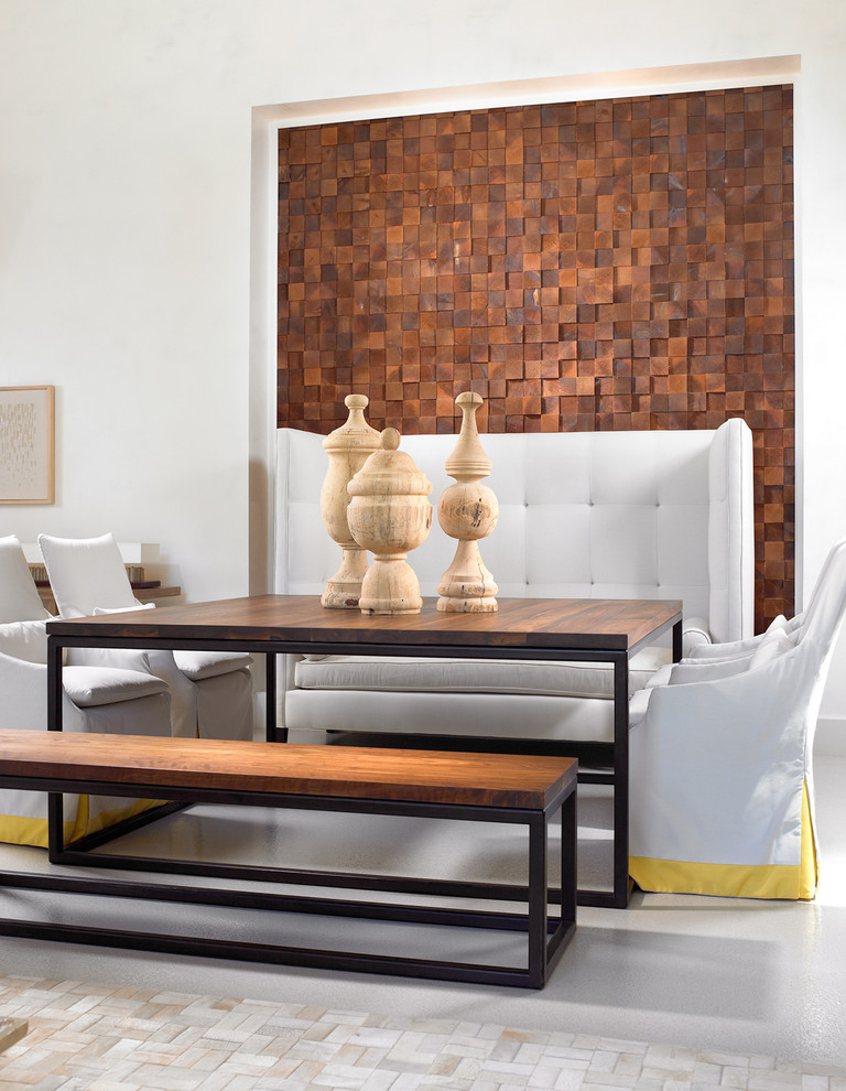 Trendy dining room photo in Nashville with white walls
