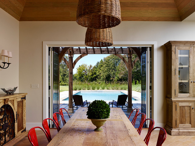 Pool House rustic-dining-room