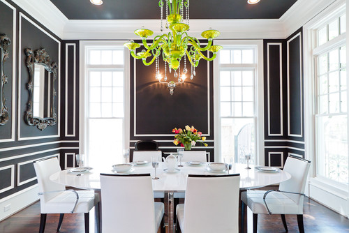 """Spectacular black and white interiors"" white interiors Spectacular black and white interiors contemporary dining room"