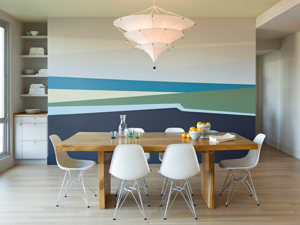Minimalist light wood floor dining room photo in Portland with multicolored walls