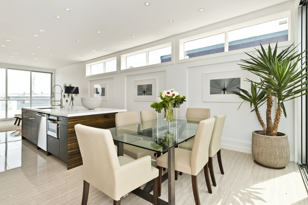 Great room - contemporary beige floor great room idea in San Francisco with white walls