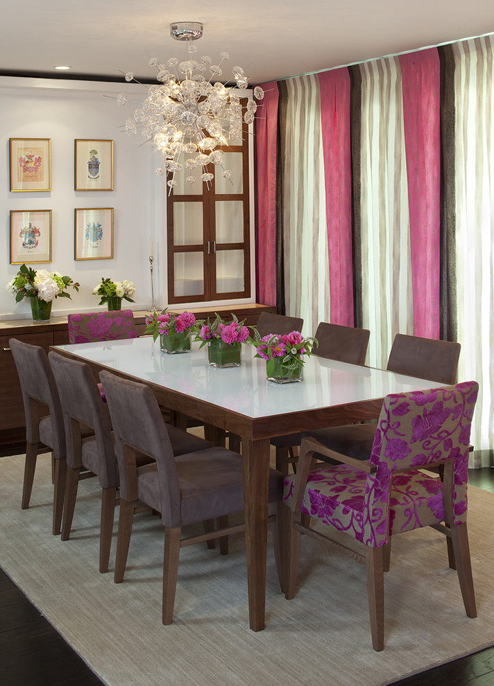 Trendy dark wood floor dining room photo in San Francisco with white walls