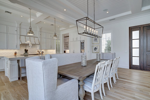 transitional dining room with simplified coach light chandelier cheap and stylish lighting