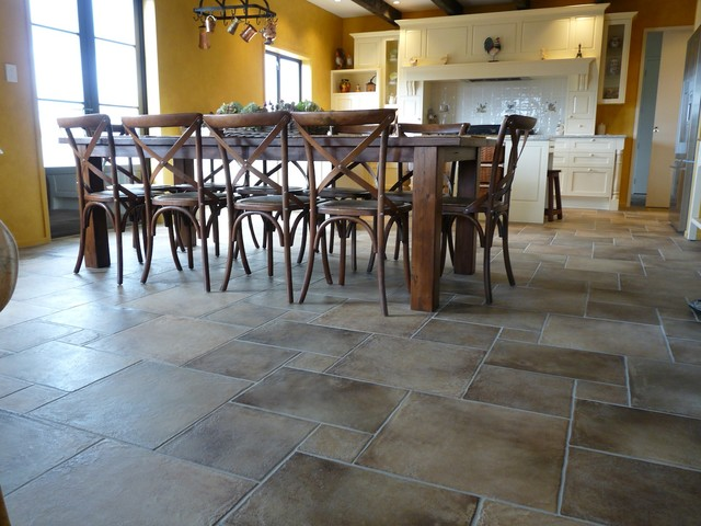 Private Residence Dining Room Modular Origine Floor Tiles Mediterranean