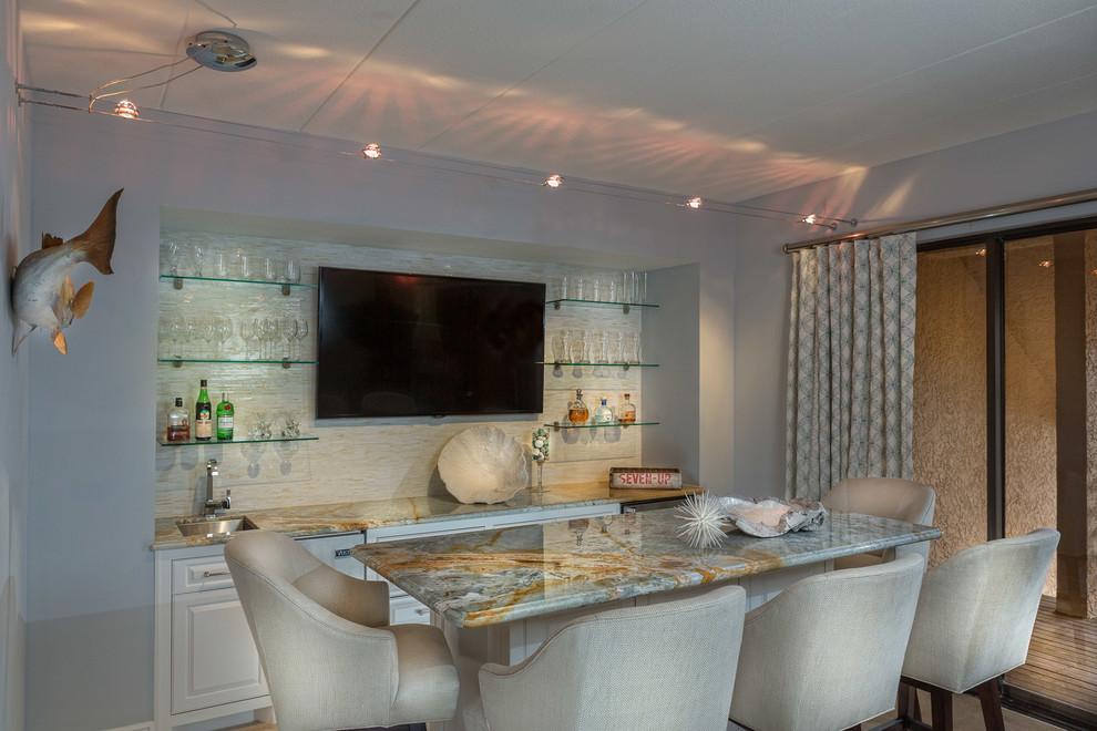 Dining room - coastal dining room idea in Austin