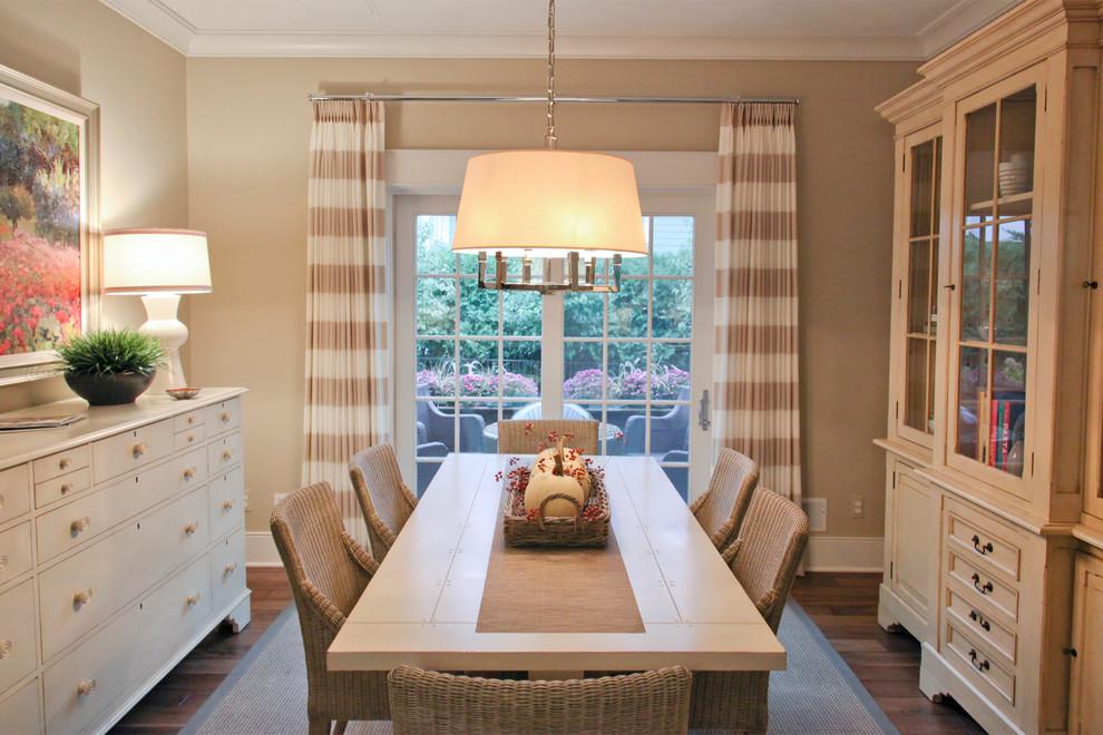 Elegant dark wood floor dining room photo in Birmingham with beige walls