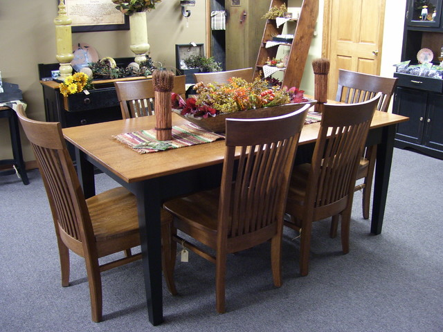 oak table top with black legs and apron craftsman dining room
