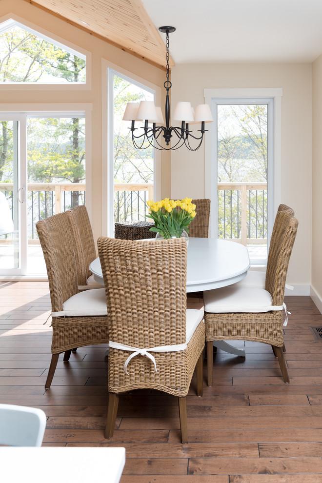 Dining room - coastal dark wood floor dining room idea in Ottawa with beige walls