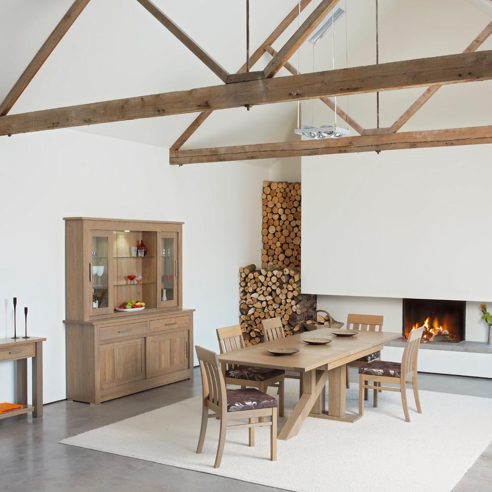 Inspiration for a contemporary concrete floor dining room remodel in London