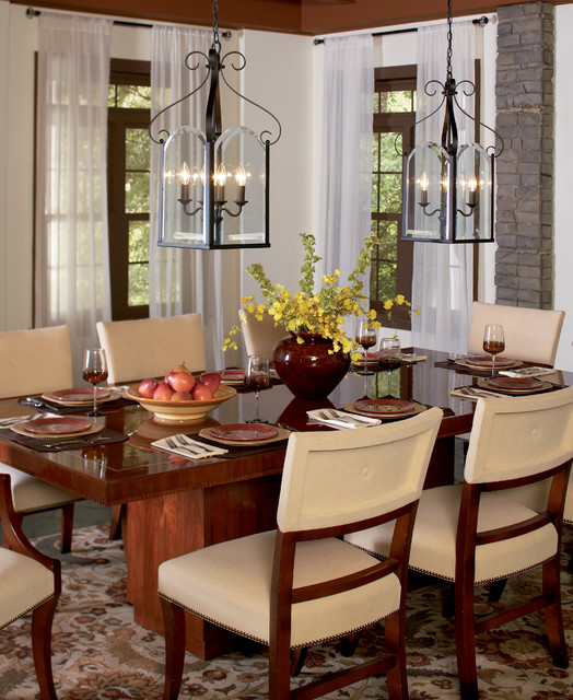 Traditional Dining Room: Quoizel Double Chandeliers