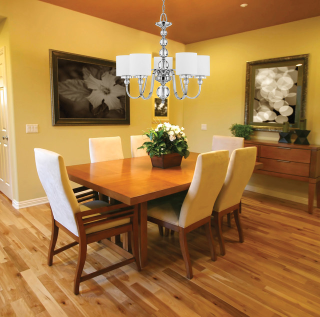 Transitional Dining Room Chandeliers: Quoizel DW5005C Downtown Polished Chrome 5 Light Chandelier
