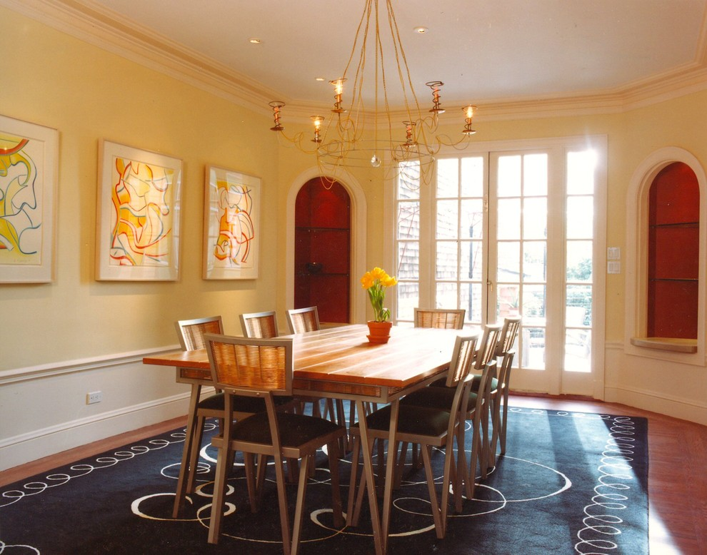 Eclectic dining room photo in San Francisco with yellow walls