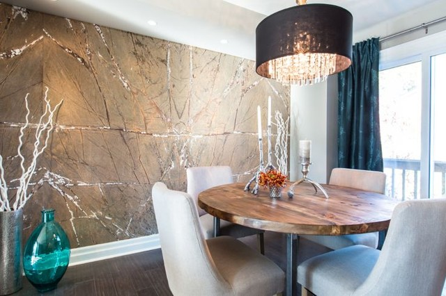 Rain Forest Brown Dsp Feature Wall Property Brothers Episode 88contemporary Dining Room Toronto