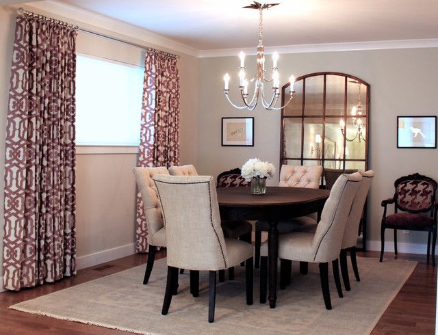 Example of a large transitional dark wood floor enclosed dining room design in San Francisco with beige walls and no fireplace