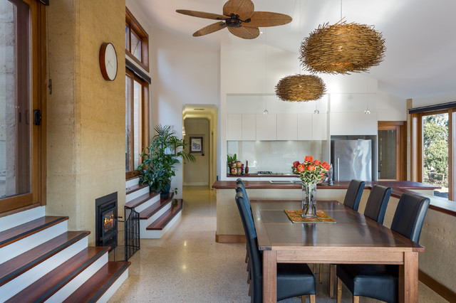 RAMMED EARTH HOME contemporary-dining-room
