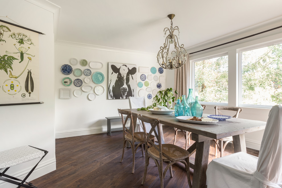 Farmhouse dark wood floor dining room photo in San Francisco with white walls